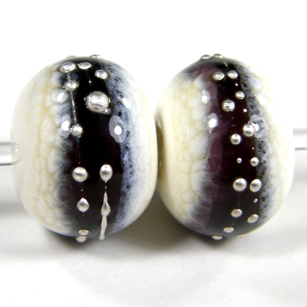Handmade Lampwork Glass Band Beads, Ivory Amethyst Purple Silver Shiny