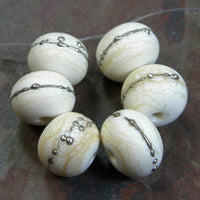 Handmade Lampwork Glass Beads, Ivory Silver Etched Matte 276efs