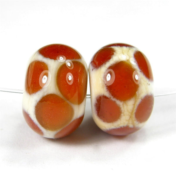 Handmade Lampwork Glass Dot Beads, Ivory Medium Amber Shiny