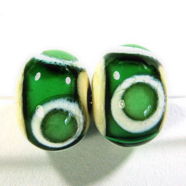 Handmade Lampwork Glass Bead Pairs, Teal Green Ivory Band Dots Shiny