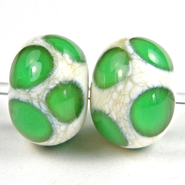 Handmade Lampwork Glass Dot Beads, Ivory Emerald Green Shiny