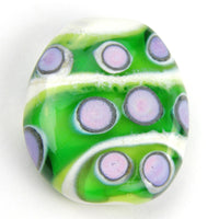 Handmade Lampwork Glass Focal Bead, Ivory Green Stripes Lavender Dots Shiny