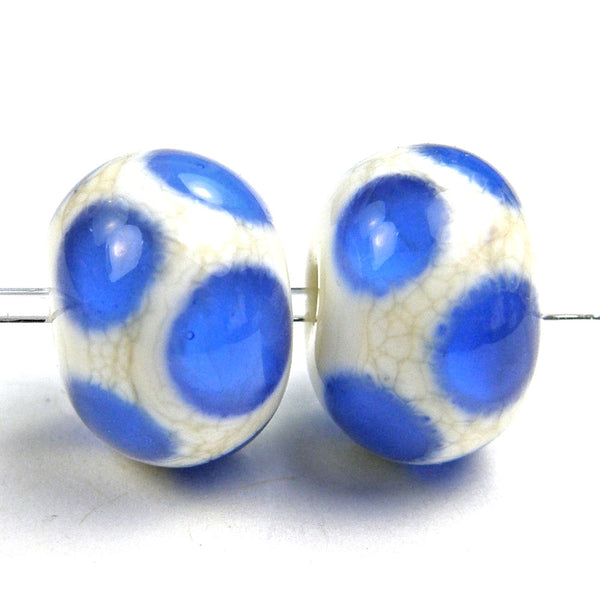 Handmade Lampwork Glass Dot Beads, Ivory Medium Blue Shiny