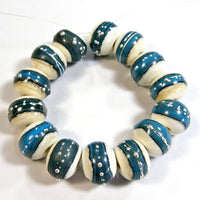 Handmade Lampwork Glass Band Beads, Ivory Dark Sky Blue Silver Shiny