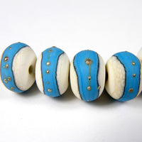 Handmade Lampwork Glass Band Beads, Ivory Dark Sky Blue Silver Etched