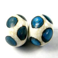 Handmade Lampwork Glass Dot Beads, Ivory Dark Turquoise Shiny