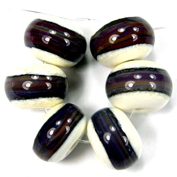 Handmade Lampwork Glass Band Beads, Ivory Terranova Purple