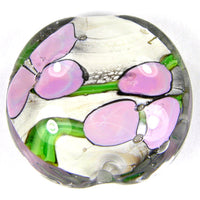 Handmade Lampwork Glass Focal Bead, XL Lentil Flowers Ivory Green Pink Clear Shiny