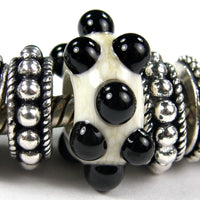 Handmade Large Hole Lampwork Beads, Glass Slider Bead, Ivory Raised Black Dots