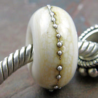 Handmade Large Hole Lampwork Beads, European Glass Charms, Ivory Silver Shiny