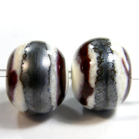 Handmade Lampwork Glass Beads, Southwest Ivory Gunmetal Navy Brown Shiny