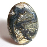 Handmade Lampwork Glass Focal Bead, Ivory Navy Gunmetal Silver Shiny