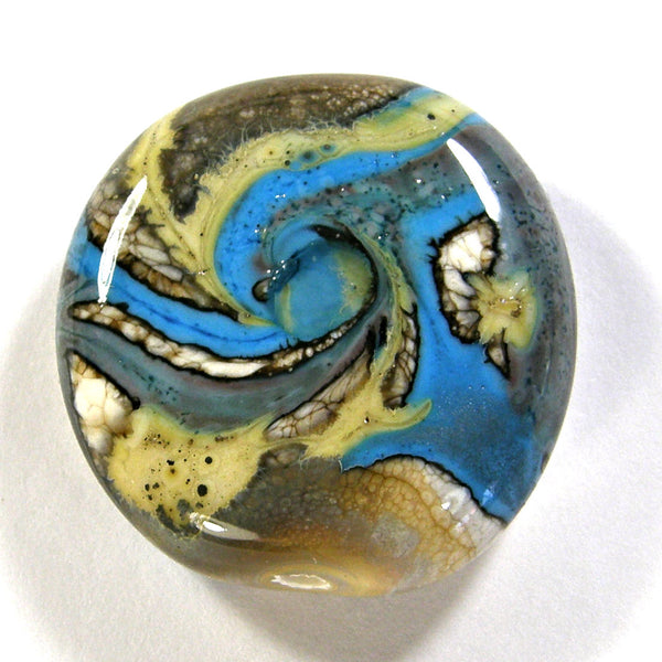 Handmade Lampwork Glass Focal Bead Ivory Silvered Ivory Dark Sky Blue