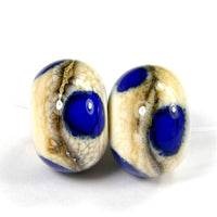 Handmade Lampwork Glass Bead Pair, Wavy Ivory SIS Blue Dots Shiny