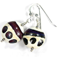 Earrings, Terranova Ivory Lampwork Dangle Earrings, Sterling Silver, Artisan Handmade Jewelry