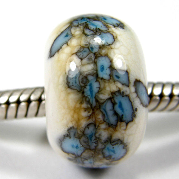 Handmade Large Hole Lampwork Beads, Glass Slider Charm Ivory Sky Blue Shiny
