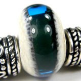 Handmade Large Hole Lampwork Beads, Slider Glass Beads, Ivory Teal Band