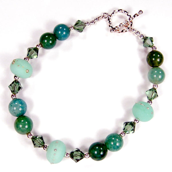 Aqua Fire Agate Gemstone and Kryptonite Mint Green Lampwork Bracelet