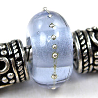 Handmade Large Hole Lampwork Beads, Glass Charm, Lavender Blue Shift Silver