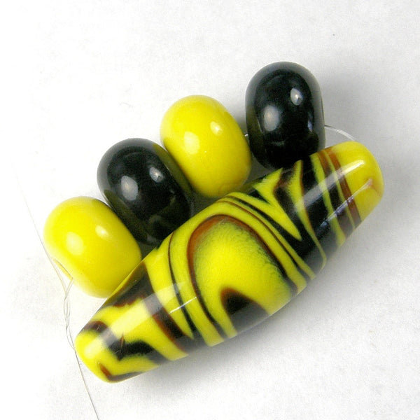 Handmade Lampwork Glass Bead Set, Bumble Bee Wavy Yellow Black Shiny