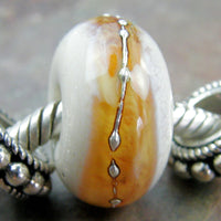 Handmade Large Hole Lampwork Beads, Ivory Light Amber Band Silver Shiny