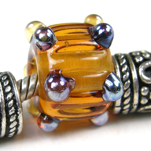 Handmade Large Hole Lampwork Beads, Light Amber Topaz Brown Ripples