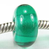 Handmade Large Hole Lampwork Beads, Euro Style Charms, Light Teal Green Shiny