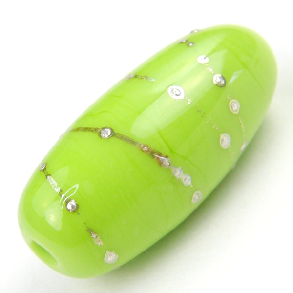 Handmade Lampwork Glass Focal Bead, Lime Green Wrapped in Fine Silver Oblong