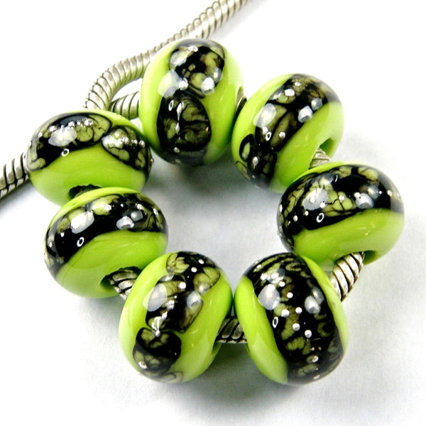 Handmade Large Hole Lampwork Beads, Glass Charms Lime Green Silver Webs Shiny