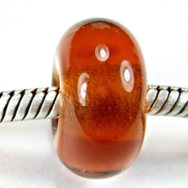 Handmade Large Hole Lampwork Beads, Art Glass Charm, Medium Amber Brown Shiny