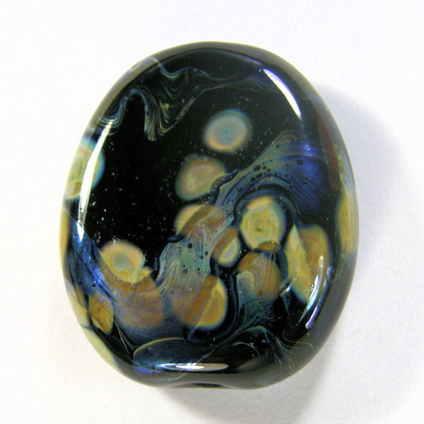 Handmade Lampwork Glass Focal Bead, Black Raku Metallic Oil Slick Shiny