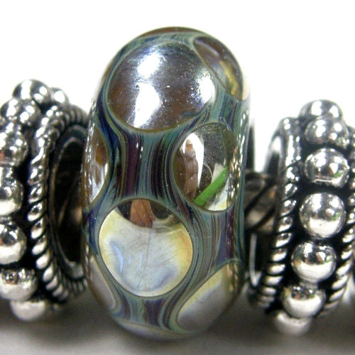 Handmade Large Hole Lampwork Beads, Artisan Glass Charm, Metallic Gold Dots
