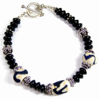 Lovers At Midnight Kronos Lampwork Bracelet, Sterling Silver, Handmade Jewelry