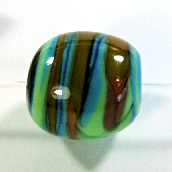 Handmade Lampwork Glass Beads, Southwestern Rust Blue Green Orange Stripes Oval