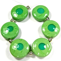 Handmade Lampwork Glass Bead Set, Nile Green Teal Dots Spree Shiny