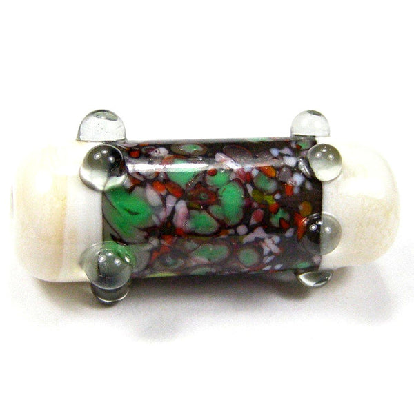 Handmade Lampwork Glass Focal Bead, Tube Ivory Green Red Gray Dots Shiny