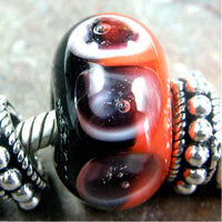 Handmade Large Hole Lampwork Beads, Handmade Glass Bead, Red Orange Black Halo Dots