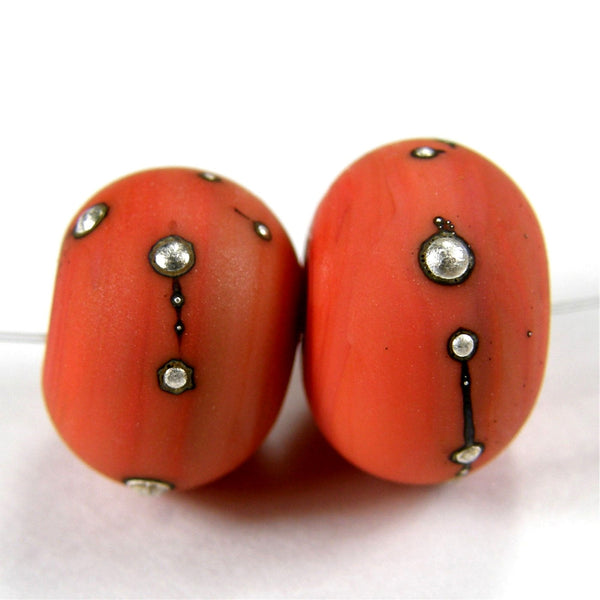 Handmade Lampwork Glass Beads, Coral Orange Silver Etched Matte 420efs