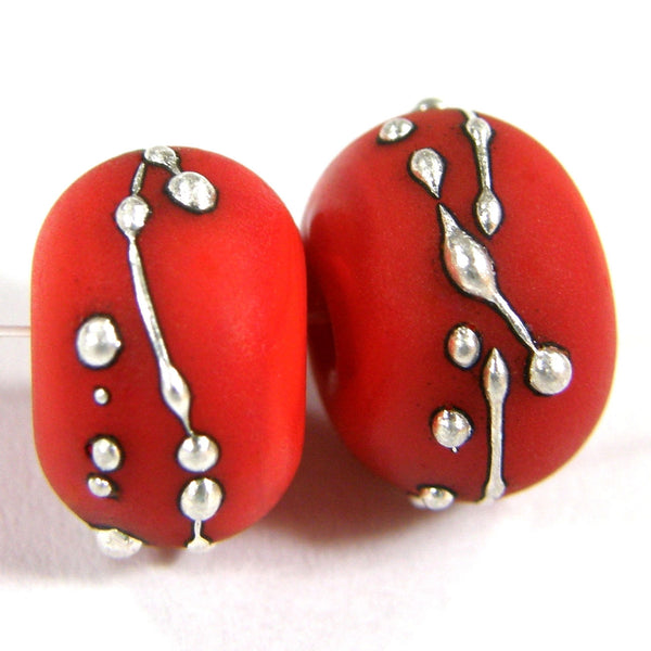 Handmade Lampwork Glass Beads, Orange Silver Etched Matte 422efs