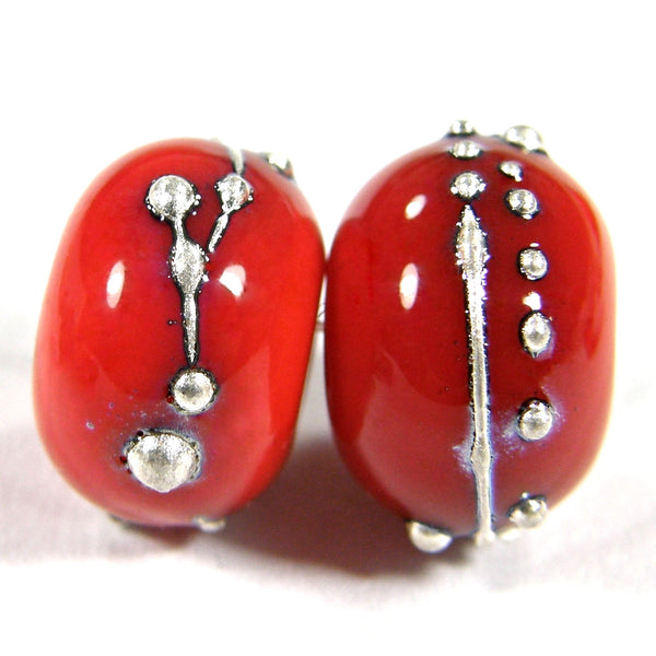 Handmade Lampwork Glass Beads, Orange Silver Shiny Glossy 422gfs