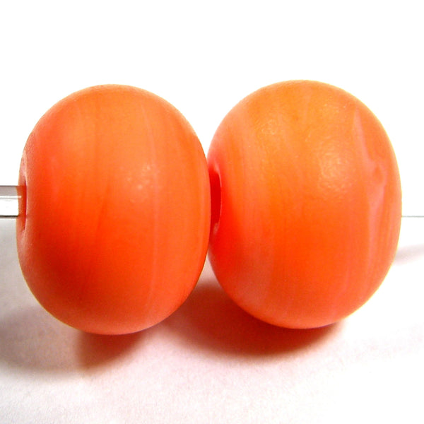 Handmade Lampwork Glass Beads, Halloween Cool Orange Etched Matte 655e