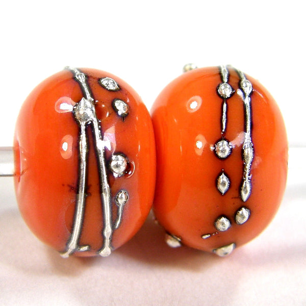 Handmade Lampwork Glass Beads, Halloween Cool Orange Silver Shiny 655gfs
