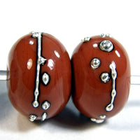 Handmade Lampwork Glass Beads, Hawaiian Clay Orange Silver Shiny 685gfs