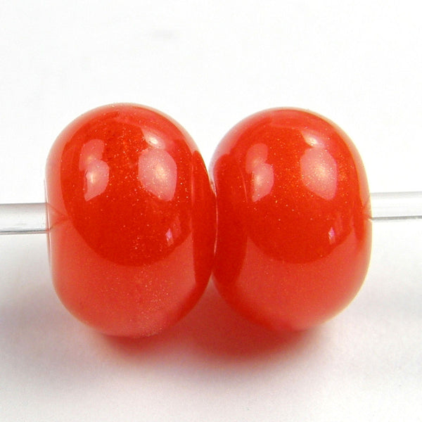Handmade Lampwork Glass Beads, Tangerine Sparkle Orange Shiny Glossy 944g