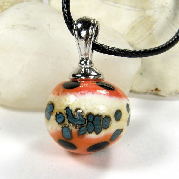 Orange You Glad Lampwork Pendant Necklace Galaxy Globe Sphere 20016