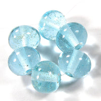 Handmade Lampwork Glass Beads, Pale Aqua Blue Starlight Sparkles Shiny