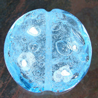 Handmade Lampwork Glass Focal Bead, Extra Large Lentil Aqua Blue Air Bubbles