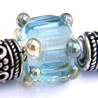 Handmade Large Hole Lampwork Beads, Glass Charm Pale Blue Ripples