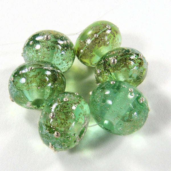 Handmade Lampwork Glass Beads, Pale Emerald Green Starlight Silver Shiny