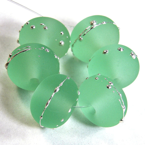 Handmade Lampwork Glass Beads, Pale Emerald Green Silver Etched 031efs